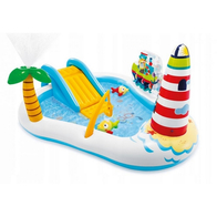 Piscina gonflabila pentru copii cu tobogan, pescar Intex 57162NP