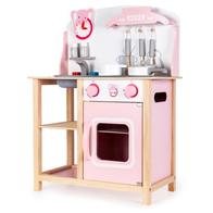 Bucatarie din lemn Ecotoys CA12009 cu sunete + accesorii bucatarie - roz