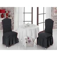Set 6 huse scaune cu volane din bumbac elasticizat - HH802