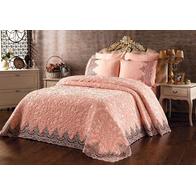 Set cuvertura lux Casa Mia dantela si catifea roz - CSM05