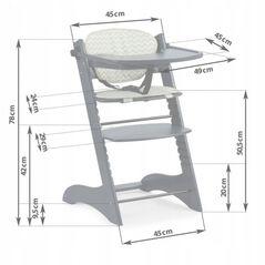 Scaun de masa din lemn Ricokids Loni - Gri inchis