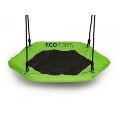 Leagan pentru copii hexagonal, tip cuib de barza, suspendat, Ecotoys MIR6023 - Verde
