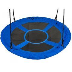 Leagan pentru copii rotund, tip cuib de barza, suspendat, 100 cm, Ecotoys MIR6001 - Albastru