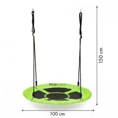 Leagan pentru copii rotund, tip cuib de barza, suspendat, 100 cm, Ecotoys MIR6001 - Verde