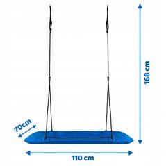 Leagan tip cuib pentru copii, dreptunghiular XXL, 110 x 70 cm, 150 kg, Neo-Sport 1010, Albastru